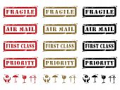 Three different colored Grungy Shipping Labels and Icons. (Fragile, Air Mail, First Class, Priority and Icons.) poster