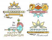 Line logo icons set for Krishna Janmashtami. Hindu festival. Celebration of the birth of Krishna. Vector illustration poster