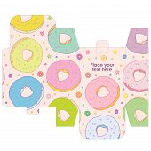 Gift wedding favor box template with sweet pattern - vector food pattern sweets donut and poster