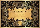 Certificate, Diploma of completion (black design template, dark background) with floral, filigree pattern, scroll border, frame. Gold Certificate of Achievement, coupon, award, winner certificate poster