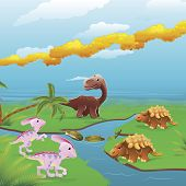 Cute dinosaurs in prehistoric scene. Series of three illustrations that can be used separately or side by side to form panoramic landscape. poster