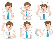 set of body odor: sweat, bad breath, hair, armpits, smoke, and socks poster