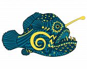 Bright colored creepy monk fish with high details in tracery style. Sketch of angelfish for tattoo, poster, print, t-shirt in zentangle style. Vector. poster