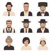 smile jewish people, vector rabbi jew face, orthodox, judaism illustration poster