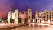 Panorama of Ancient Roman Gate and Placa Nova at night, Barri Gothic Quarter in Barcelona, Catalonia, Spain poster