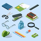 Books, paper documents in folders, and other base stationary elements set. Vector isometric office equipment stationary element scissor and stapler illustration poster