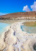 The concept of ecological and medical tourism. Reduced water in the salty Dead Sea, Israel. The evaporated salt has developed into fantastic patterns poster