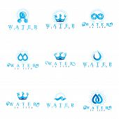 Fresh mineral water design emblems like water drops H2O symbols wave splash and limitless logotypes. Cleaning services business logo water treatment concept. poster