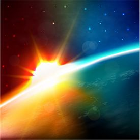 Abstract space illustration with the Earth surface and sun rising over it - raster version