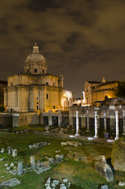 Rome - Santi Luca E Martina Church And Roman Forum At Night