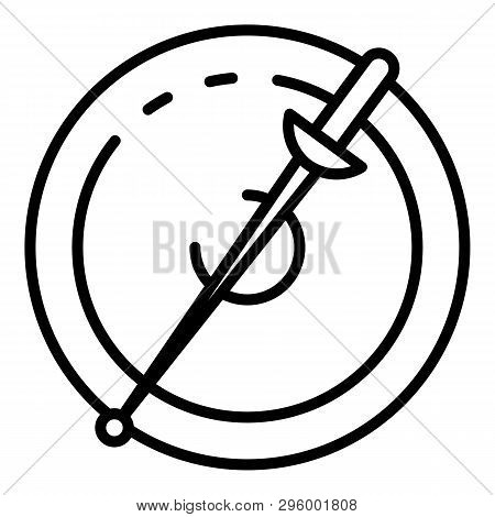 Fencing Sword And Shield Icon. Outline Fencing Sword And Shield Vector Icon For Web Design Isolated