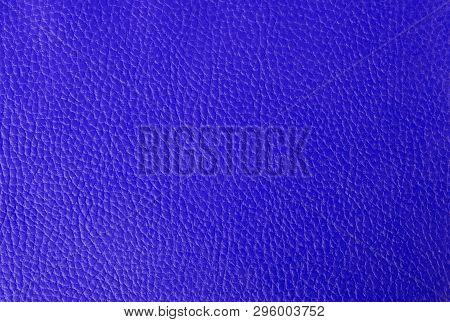 Bright Blue Leather Background, Part Of An Old Binder Folder