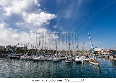 Barcelona - Port Vell With Yachts And Sailboats. Catalonia, Spain, Europe