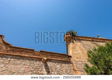 Detail Of The Montjuic Castle With A Sentry Box (1640), Ancient Military Fortress On The Top Of The