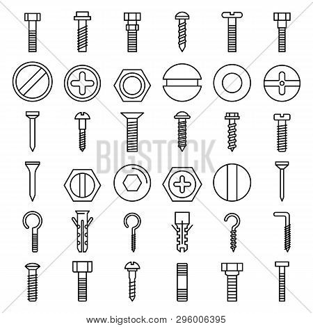 Screw-bolt Icons Set. Outline Set Of Screw-bolt Vector Icons For Web Design Isolated On White Backgr