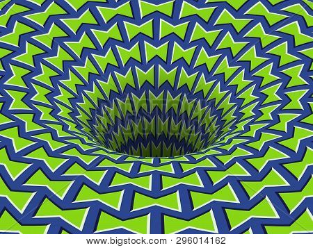 Absorbing Blue Green Patterned Hole. Vector Optical Illusion Background.
