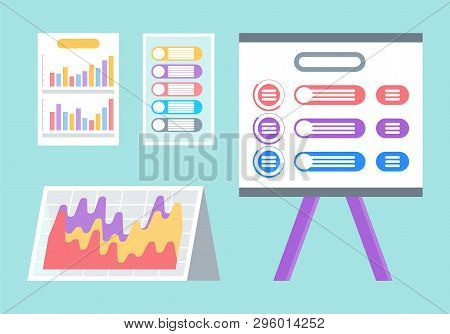 Documents And Screen With Infographics Vector. Set Of Isolated Icons, Diagrams And Templates, Busine