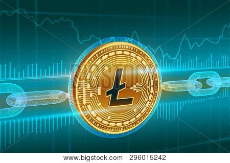 Crypto Currency. Block Chain. Litecoin. 3d Isometric Physical Golden Litecoin Coin With Wireframe Ch