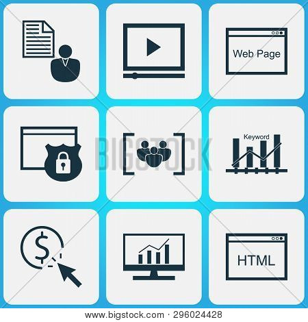 Marketing Icons Set With Video Advertising, Keyword Ranking, Focus Group And Other Keyword Optimisat