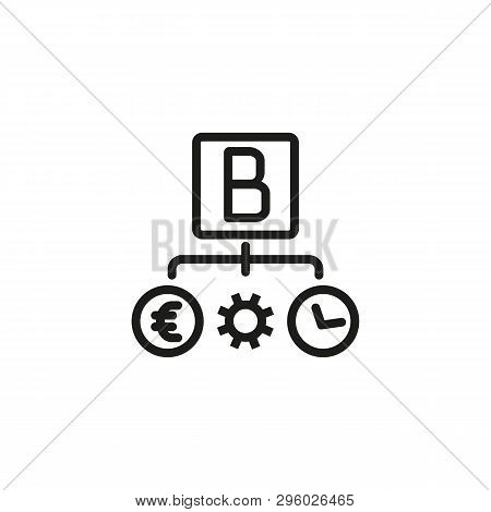 Bootstrapping Line Icon. Gear, Time, Currency. Business Structure Concept. Can Be Used For Topics Li
