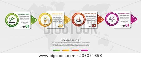 Vector Infographic 3D Template For Four Arrow, Diagram, Graph, Presentation And Circles. Business Co