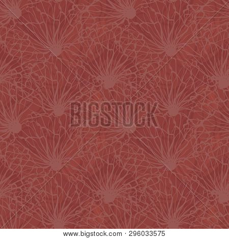 Densely Textured Design. Hand Drawn Line Art Flowers In Seamless Vector Pattern On Marbled Chestnut