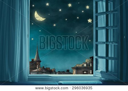 Surreal Fairy Tale Art Background, View From Room With Open Window, Night Sky With Moon And Stars, C