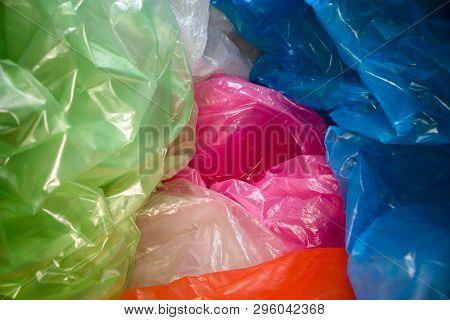 Disposable Plastic Bags Background. Lightweight Transparent, Reusable Plastic Waste. Rubbish Bags, P