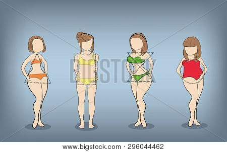 Silhouettes Of Women With Different Types Of Figures. Vector Illustration.