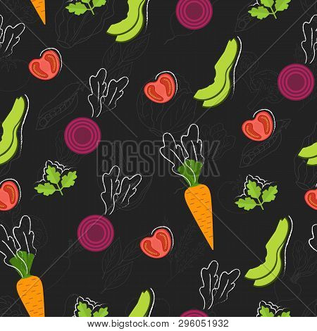 Seamless Food Pattern. Flat Food On Chalk Board.