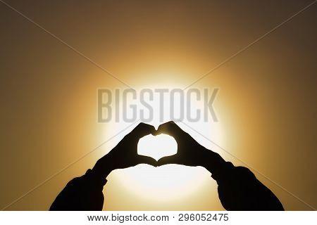Woman Making Heart Shape During Sun Rise, God Is Love Concept, Heart Shape, Mountain Tourism, Symbol