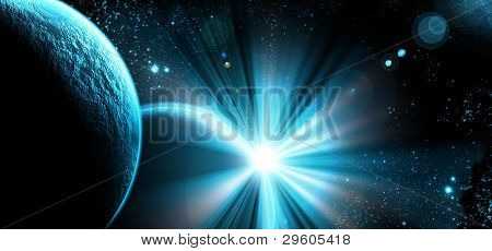 planet with sunrise on the background of stars and galaxies