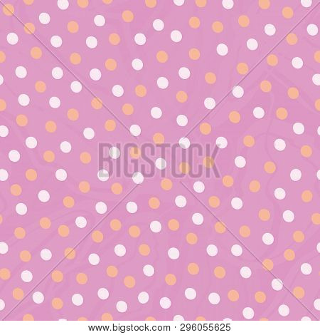Golden And Pastel Pink Hand Drawn Dots In Random Design. Seamless Vector Pattern On Lightly Marbled