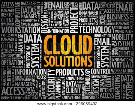 Cloud Solutions Word Cloud, Technology Concept Background