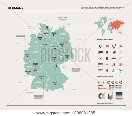 Vector Map Of Germany.  High Detailed Country Map With Division, Cities And Capital Berlin. Politica