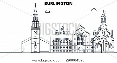 Burlington , United States, Outline Travel Skyline Vector Illustration.