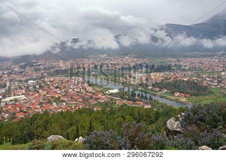 Foggy Day. View Of Trebinje City And Trebisnjica River From Crkvina Hill. Bosnia And Herzegovina, Re