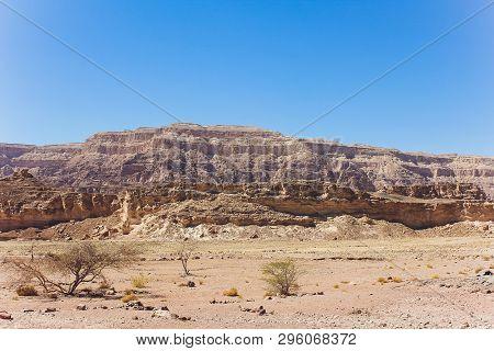 Timna Park And Solomon Pillars, Rocks In The Desert, Landscape In The Desert. Small Rocky Hills. Sto