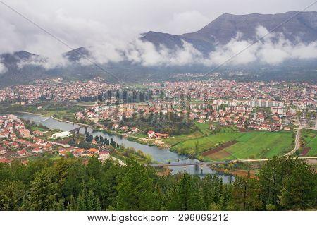 View Of Trebinje City And Trebisnjica River From Crkvina Hill On Rainy Spring Day. Bosnia And Herzeg