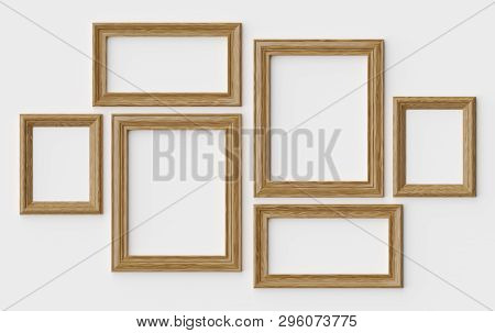 Wooden Blank Picture Or Photo Frames On White Wall With Shadows, Decorative Wooden Picture Frames Te