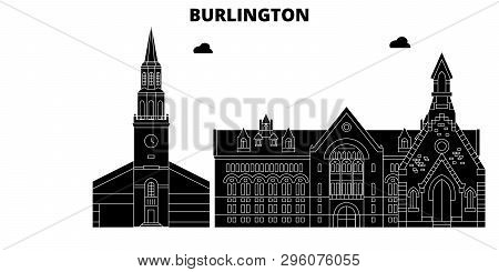 Burlington, United States, Vector Skyline, Travel Illustration, Landmarks, Sights.