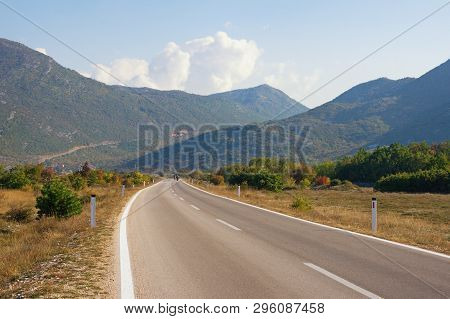 Beautiful Mountain Landscape On Sunny Autumn Day. Road Trip Through The Dinaric Alps. Bosnia And Her