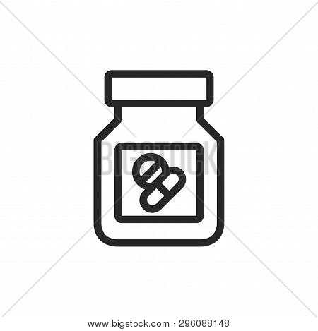 Pills Bottle Icon Isolated On White Background. Pills Bottle Icon In Trendy Design Style. Pills Bott