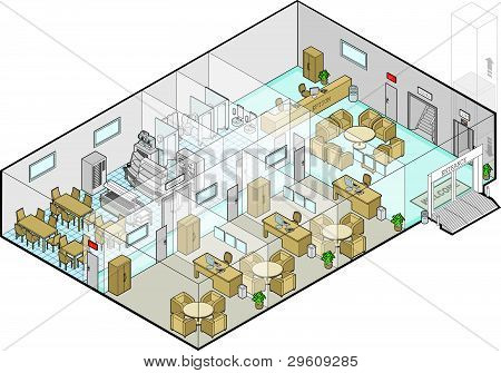 Hospital Ground Floor Entrance Vector Isometric