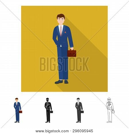 Isolated Object Of Man  And Business Sign. Set Of Man  And Businessperson  Stock Symbol For Web.