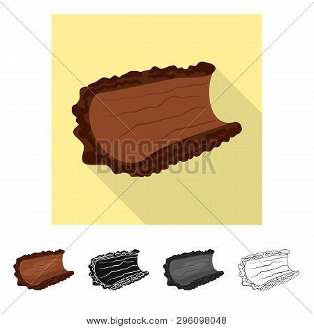 Isolated Object Of Bark  And Piece Sign. Set Of Bark  And Lumber  Vector Icon For Stock.