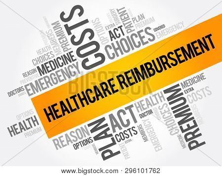 Healthcare Reimbursement Word Cloud Collage, Health Concept Background