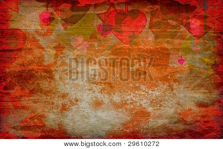 abstract hearts and stars on the grunge background