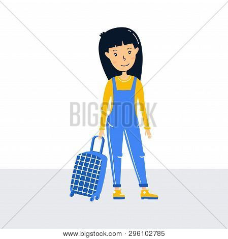 Little Girl Traveler Stands, Holding A Suitcase On Wheels. Ready To Travel Red Hair Teenager Girl. W