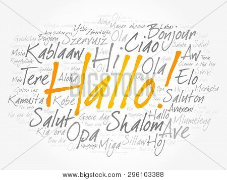 Hallo (hello Greeting In German) Word Cloud In Different Languages Of The World
